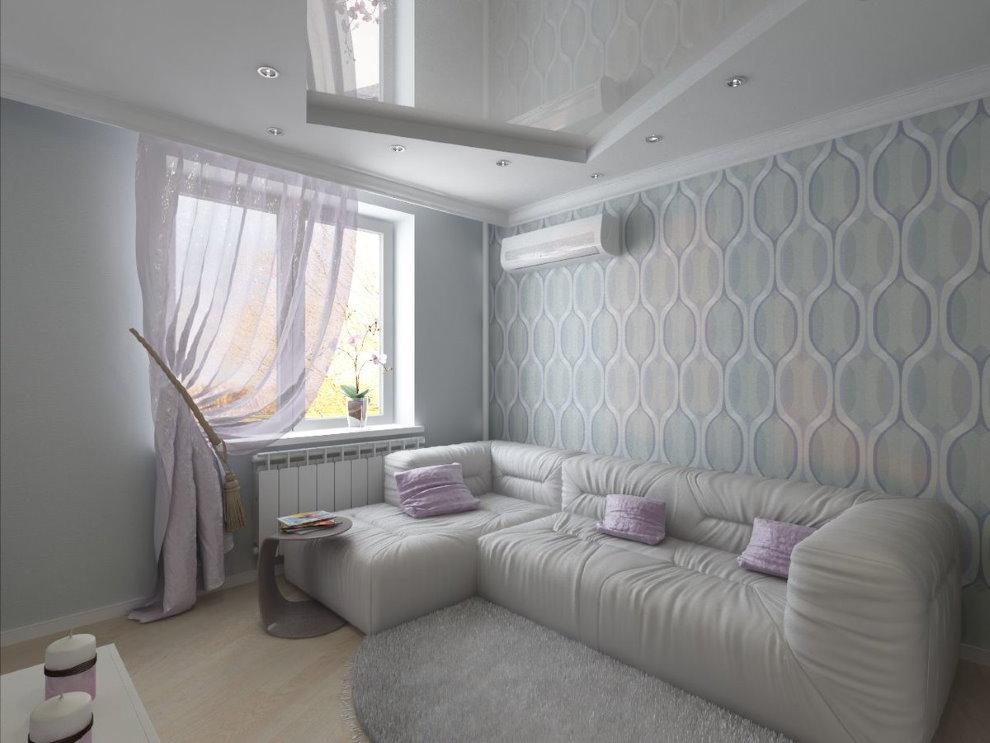 Угловой диван в зале с обоями светлого тона
