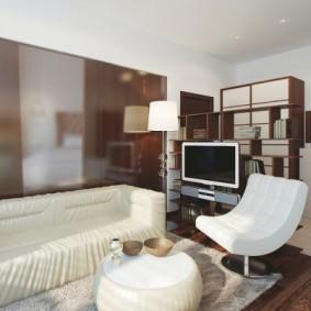 светлый дизайн маленького зала
