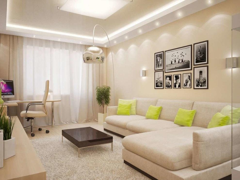 Светодиодная подсветка потолка в гостиной площадью 18 кв м