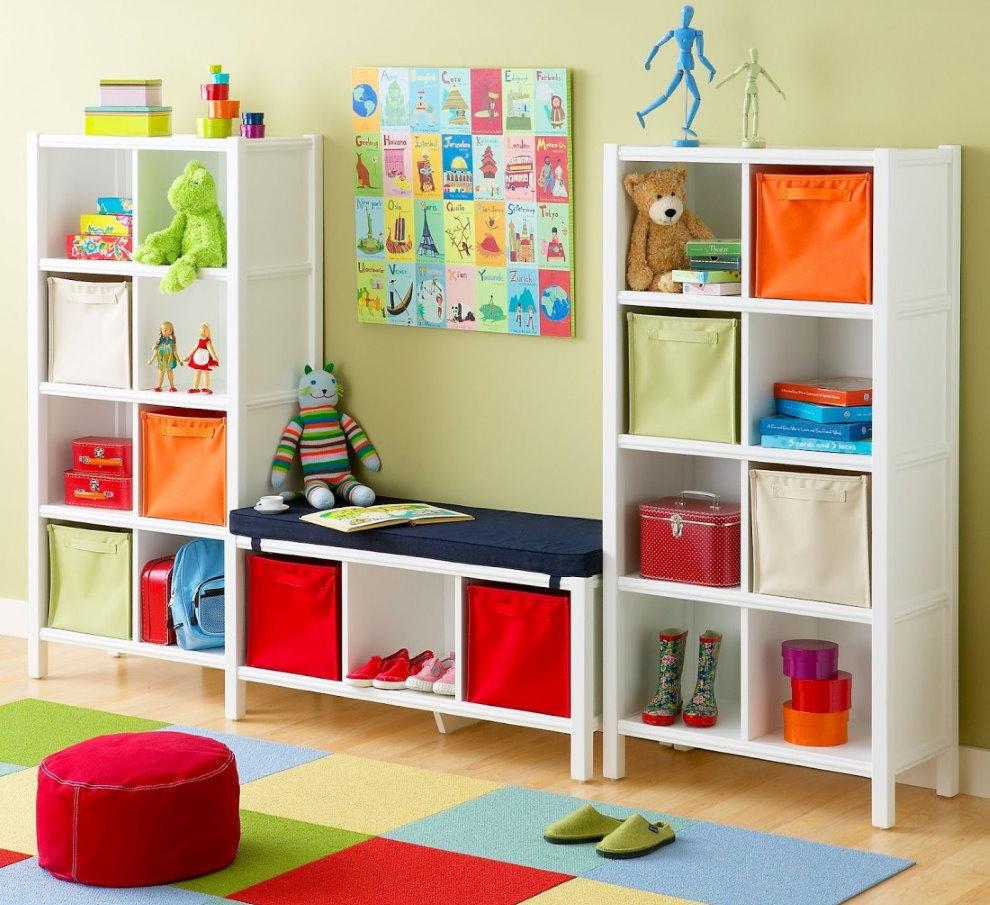 Белый стеллаж для игрушек и детских вещей