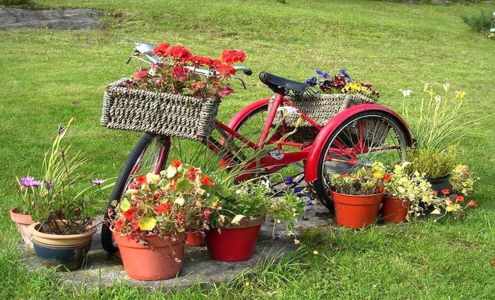 Клумба из старого трехколесного велосипеда