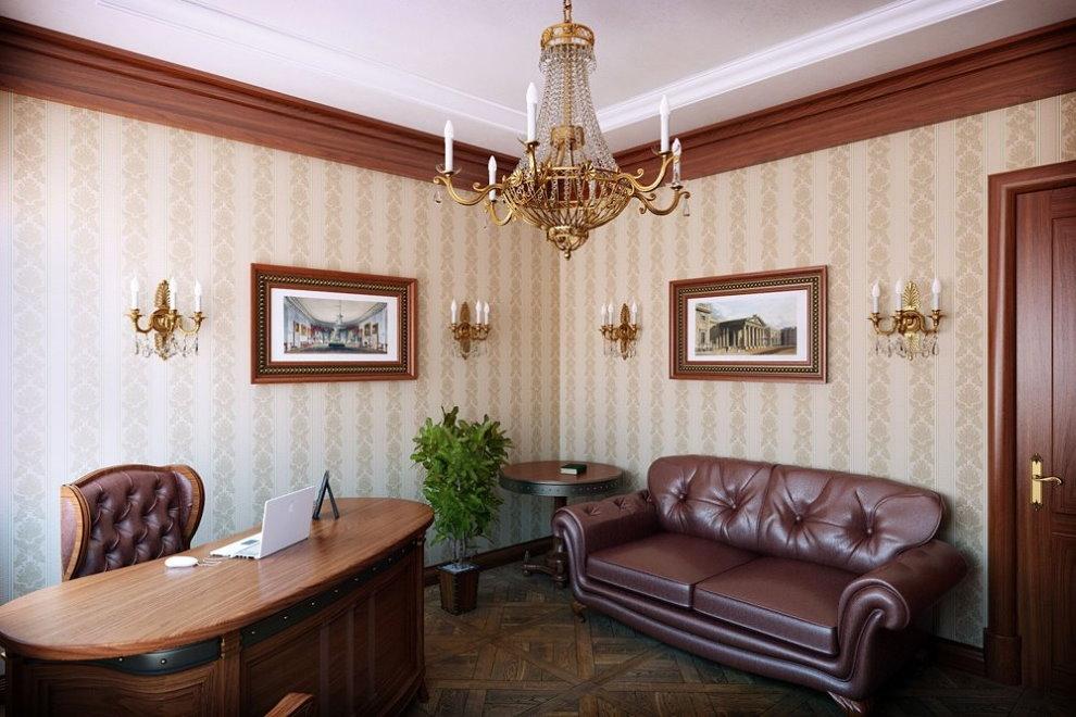 Вертикальный рисунок на обоях в кабинете