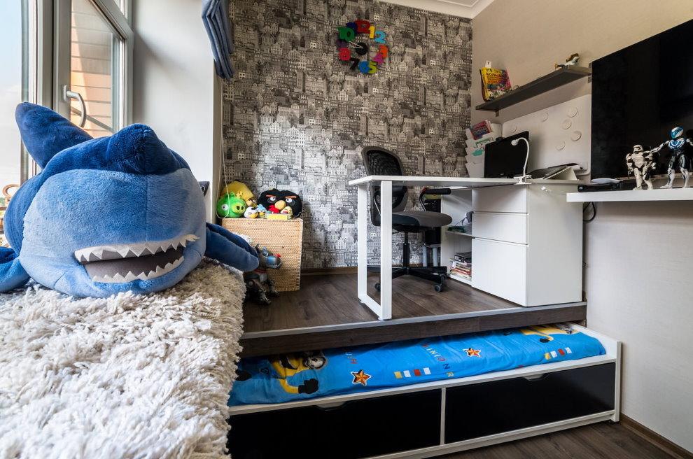 Комната подростка с кроватью в подиуме