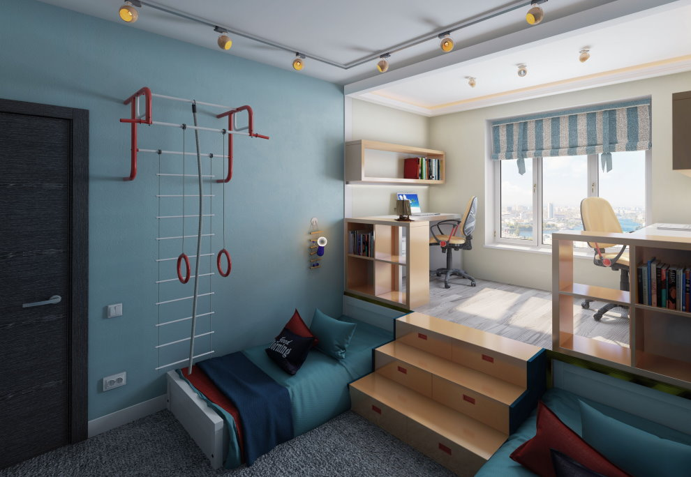 Подиум в комнате двоих мальчиков
