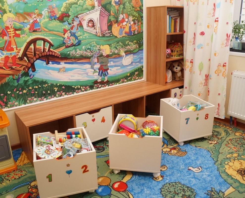 Выдвижные ящики на колесиках для детского стеллажа