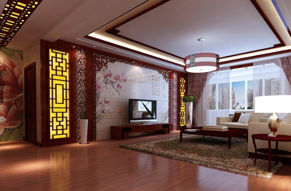 Интерьер гостиной с натяжным потолком в восточном стиле
