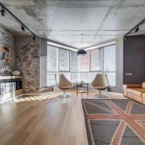 Лофт в интерьере зала квартиры студии