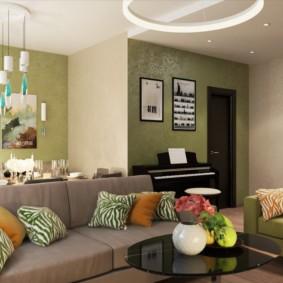 Уютная гостиная в двухкомнатной квартире