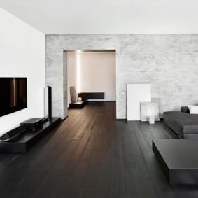 Темный пол в гостиной комнате
