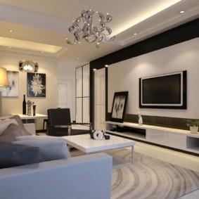 Стильный зал в городской квартире