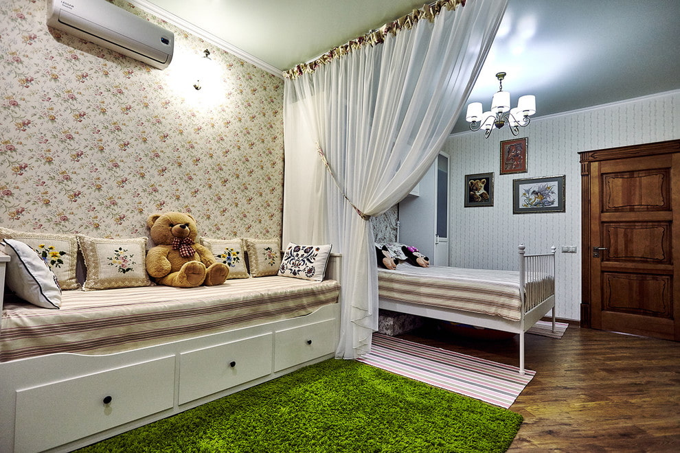 Зонирование шторой комнаты для девочек