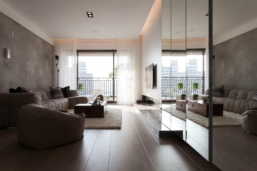 Зеркала в интерьере современной гостиной