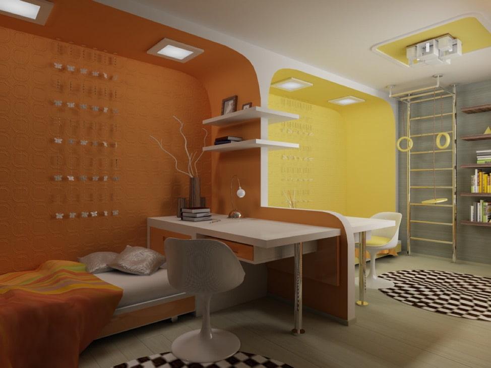 Желто-коричневая комната для мальчика и девочки