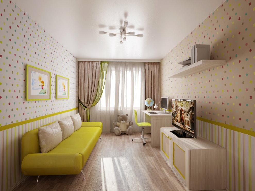 Желтый диван под обои в узкую комнату