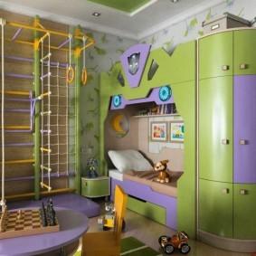 зонирование детской комнаты виды декора