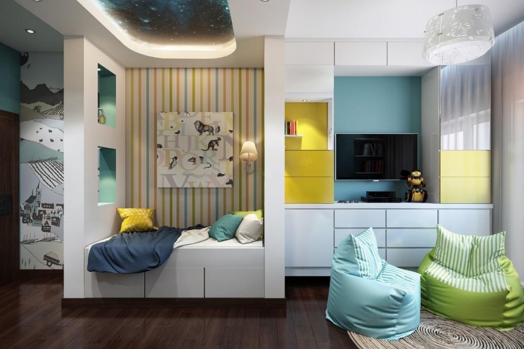 Зонирование обоями комнаты для подростка