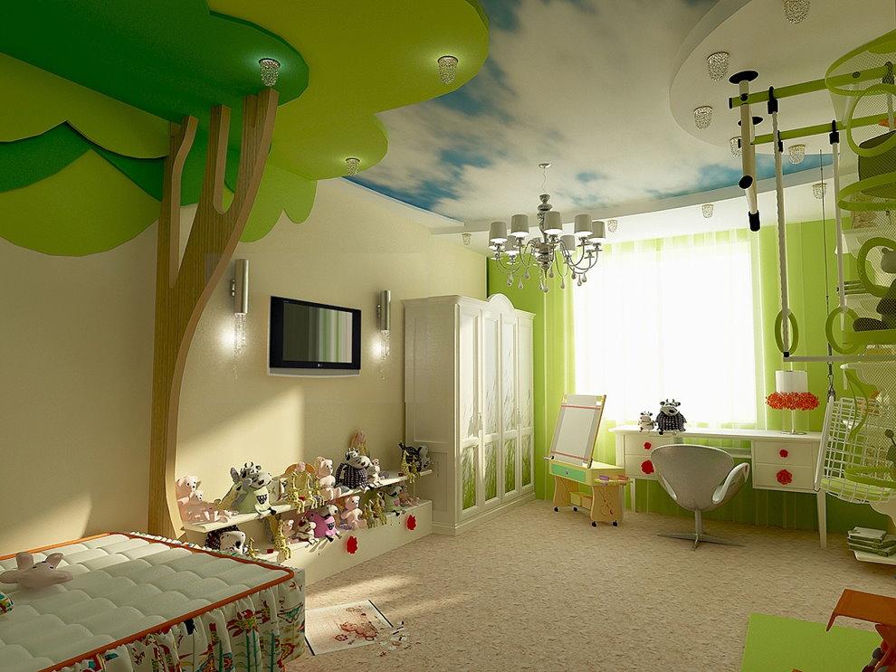 Зонирование потолком пространства детской комнаты
