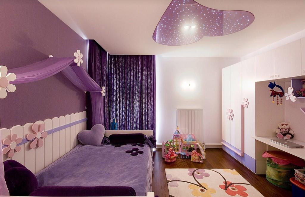 Фиолетовый цвет в интерьере комнаты для девочки