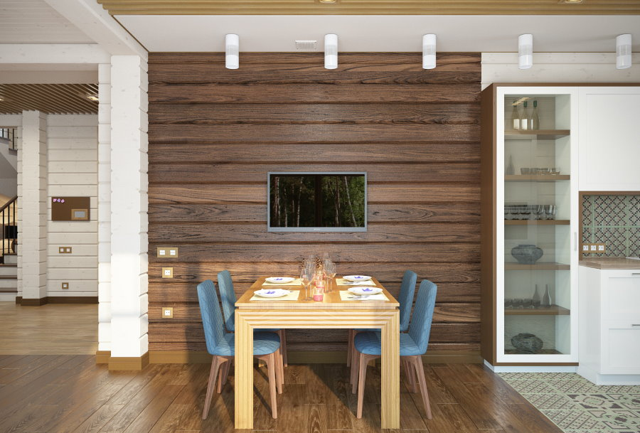 Оформление акцентной стены в кухне-гостиной деревянного дома