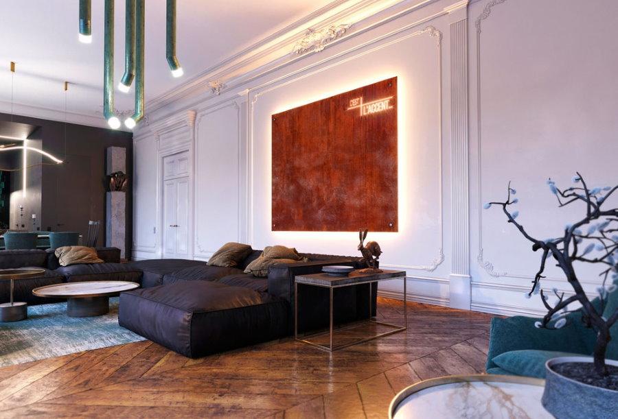Акцентная подсветка декоративных элементов в гостиной
