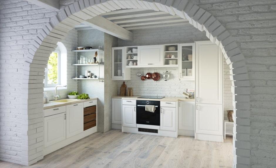арка из камня на кухне
