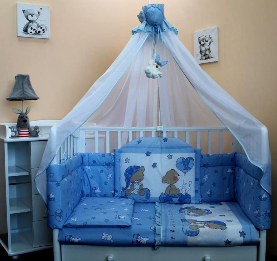 Детская кроватка с балдахином нежно-голубого цвета