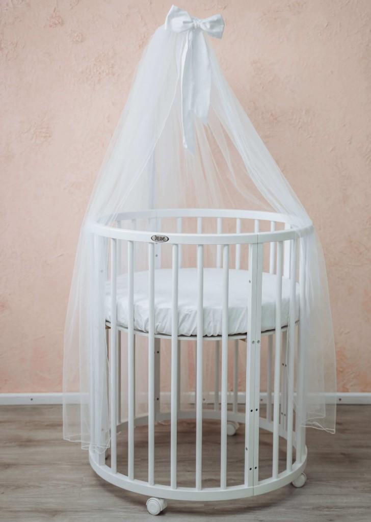 Круглая кроватка с белым балдахином для новорожденного