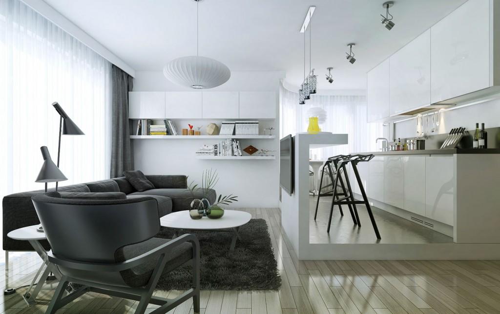 Стильная стойка на тонкой ножке между кухней и гостиной