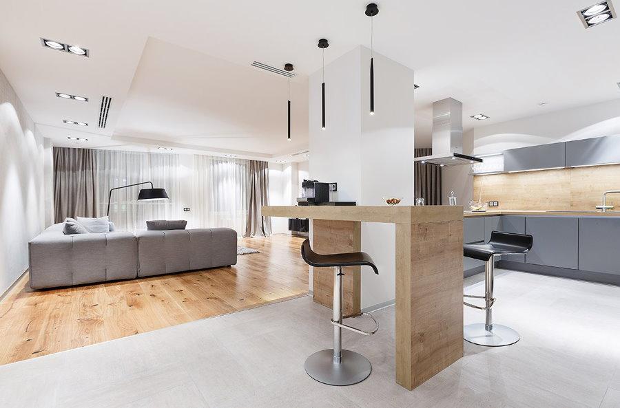 Барная стойка в квартире-студии минималистического стиля