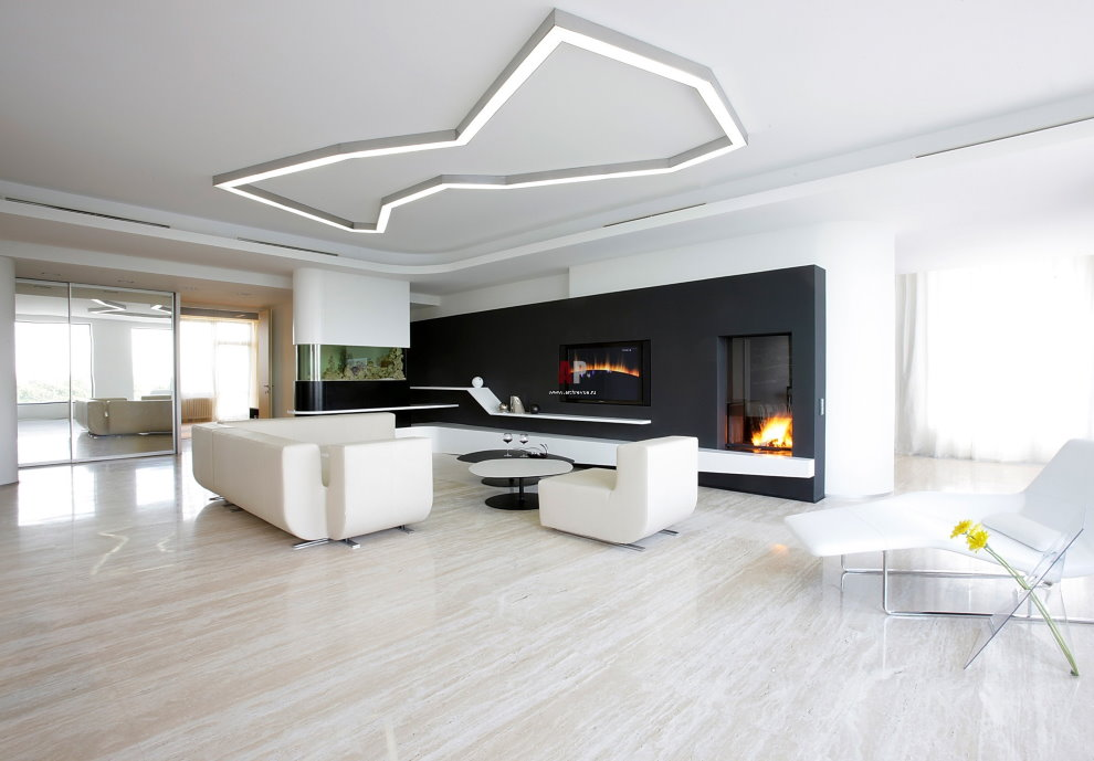 Белая мебель в гостиной стиля минимализма