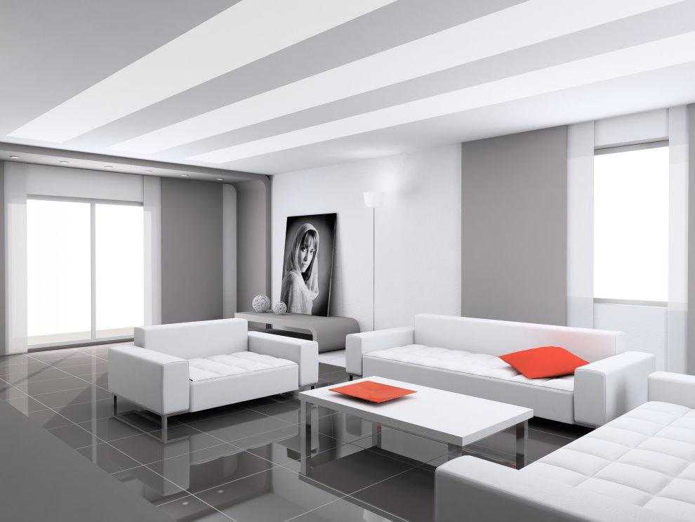 Белая мебель на сером полу гостиной в стиле хай-тек