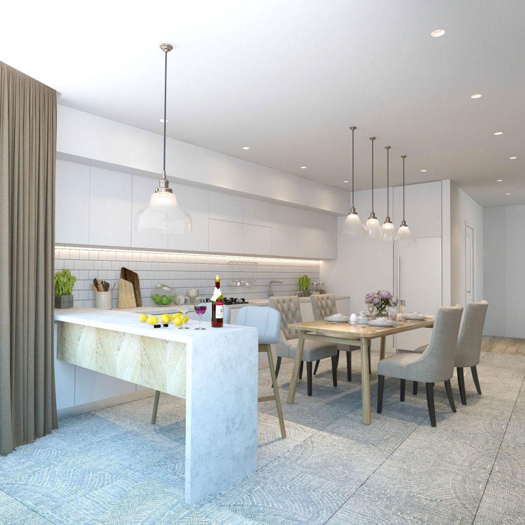 белый интерьер кухни фото