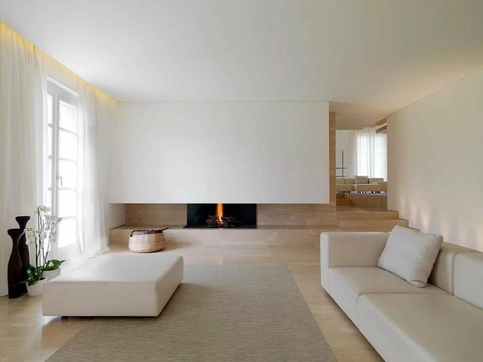 Белая мебель в зале стиля минимализм