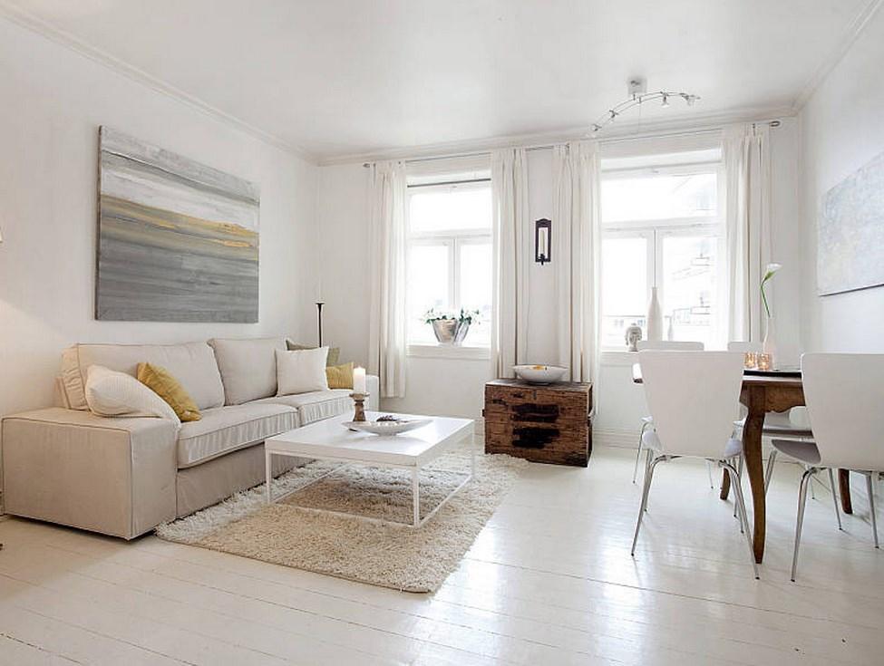 Дизайн гостиной комнаты с белым полом