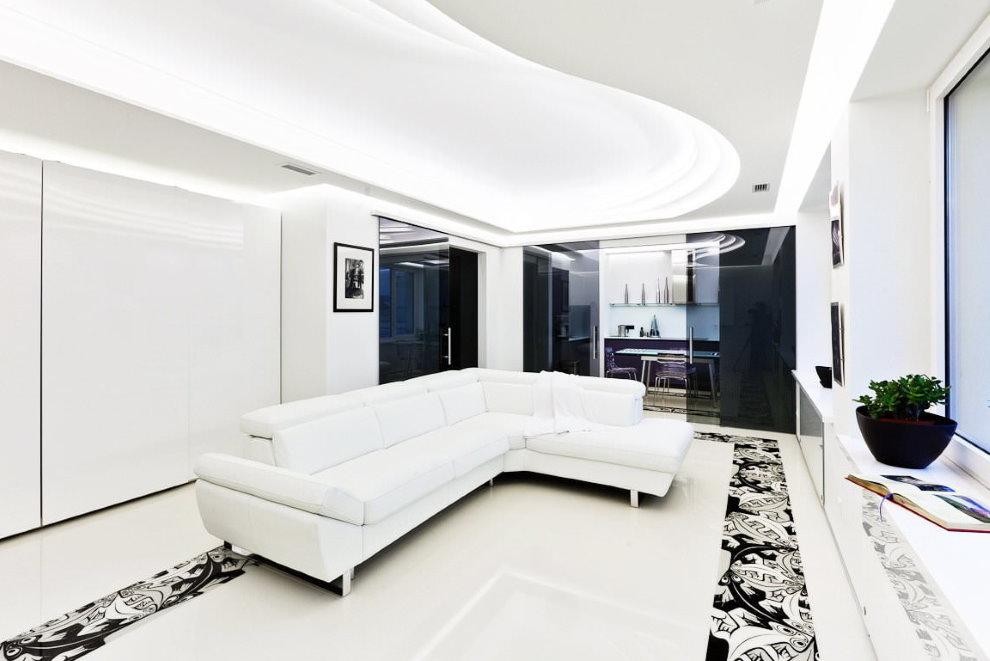 Белый потолок в гостиной стиля хай тек