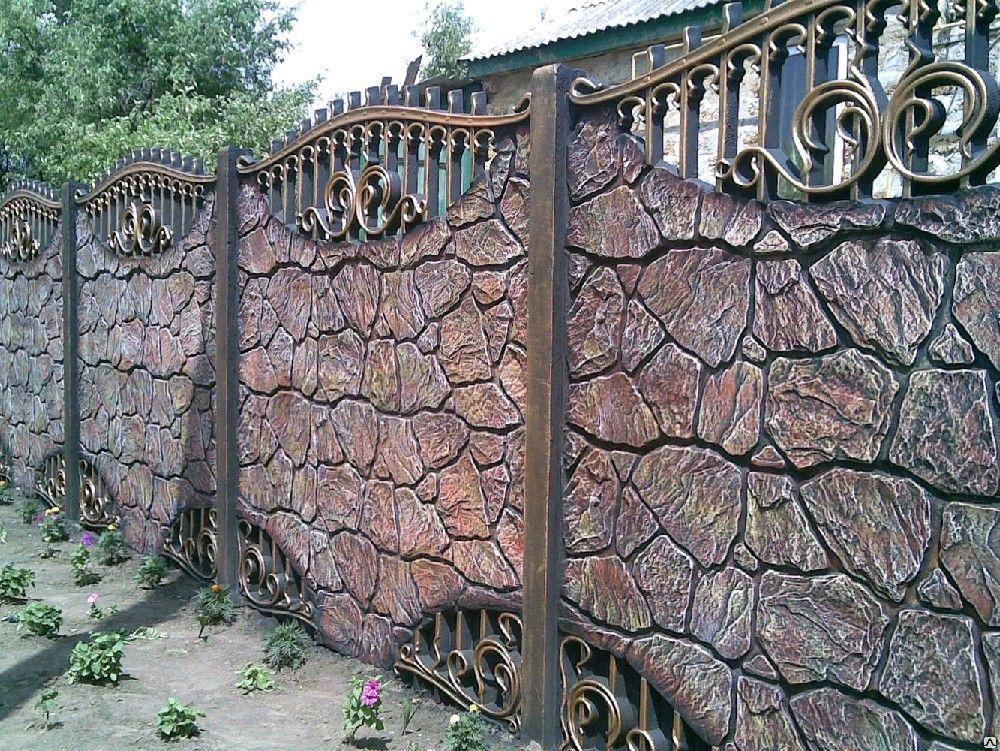 Бетонный забор с ажурными элементами
