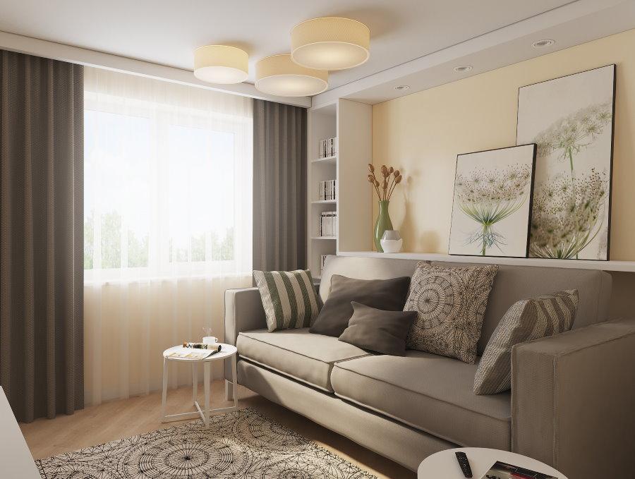Светло-серый диван в бежевой гостиной