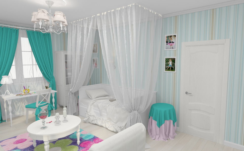 Белый балдахин над кроватью девочки