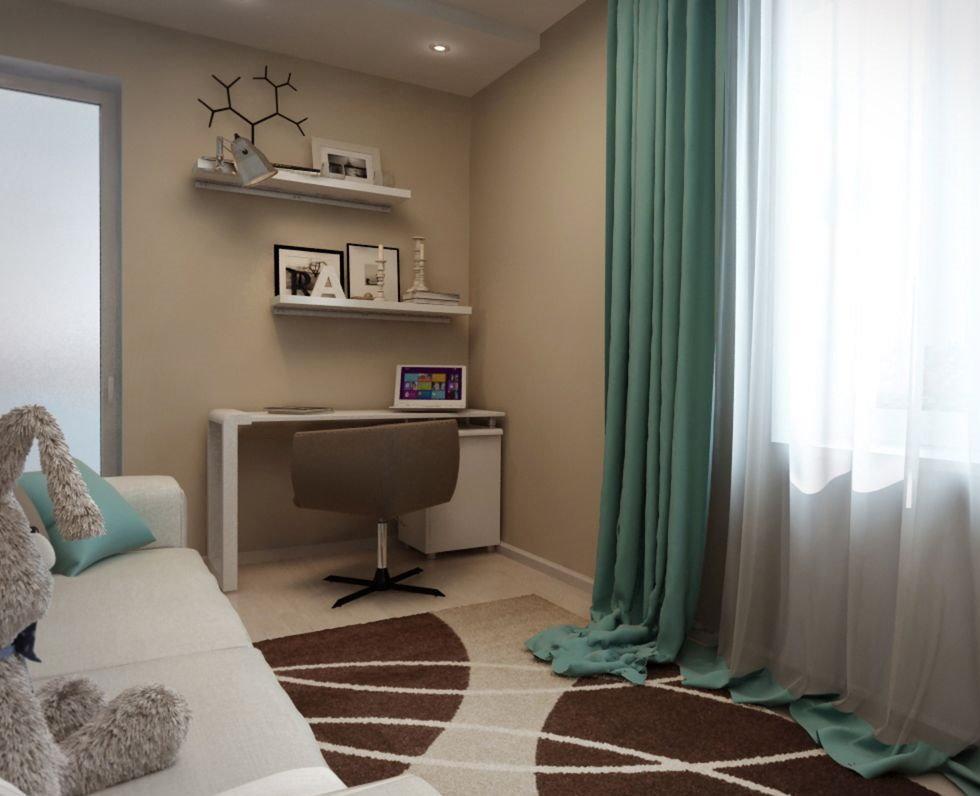 Детская комнаты с бирюзовыми занавесками