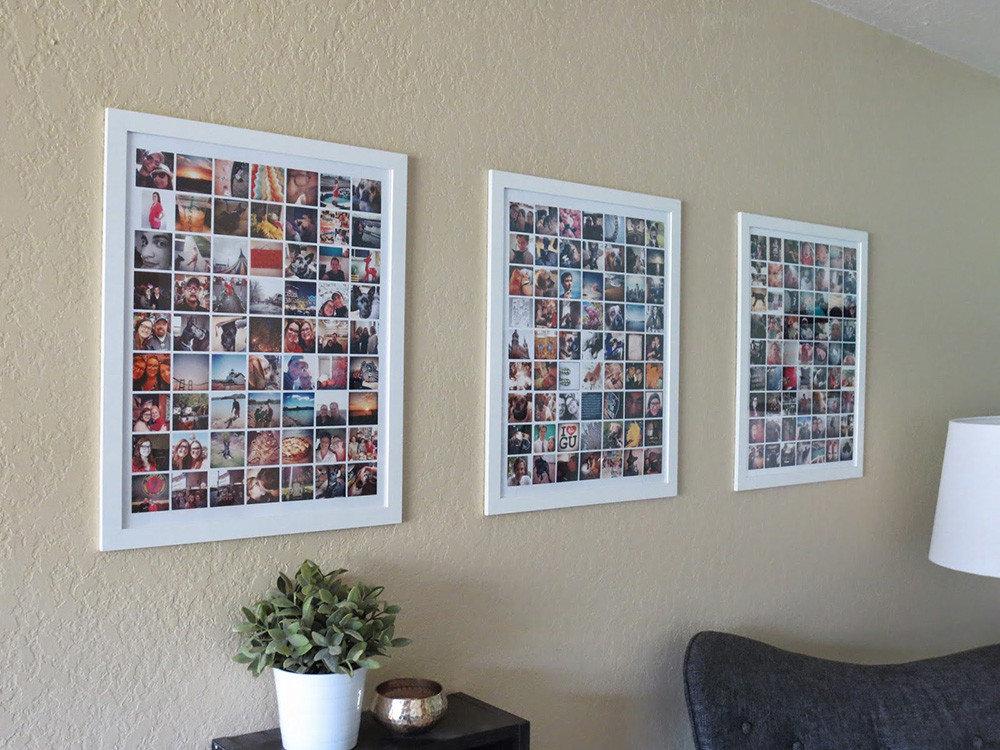 Коллажи из праздничных фотографий на стене гостиной