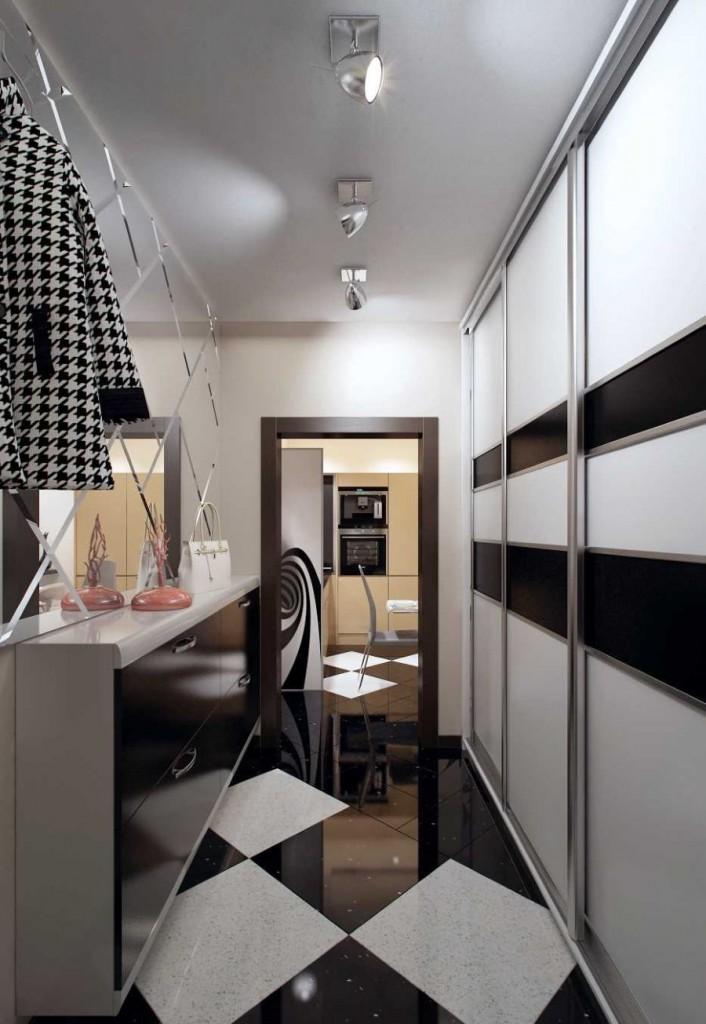 Встроенный шкаф-купе в прихожей двухкомнатной квартиры