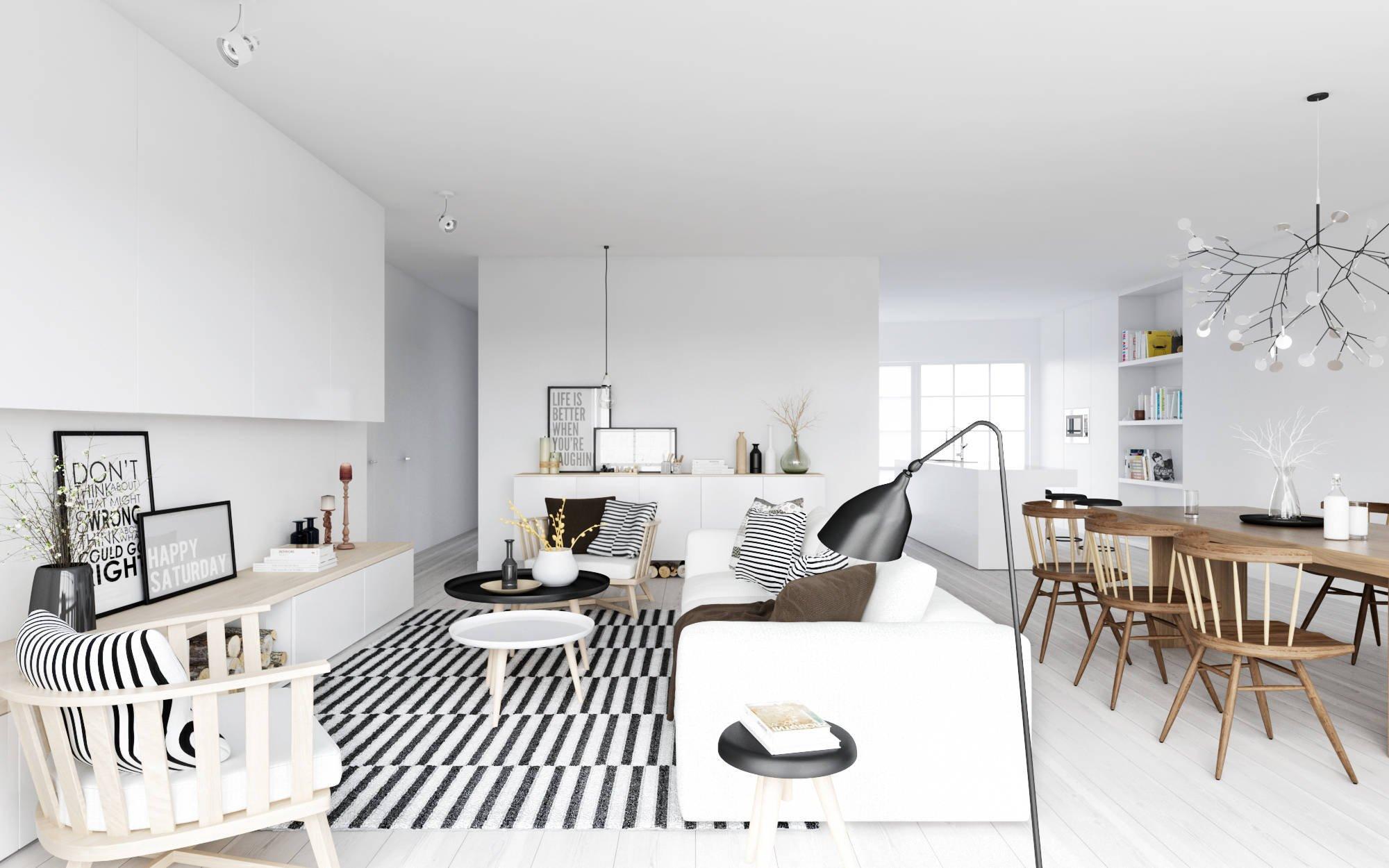 чёрно-белый интерьер квартиры студии