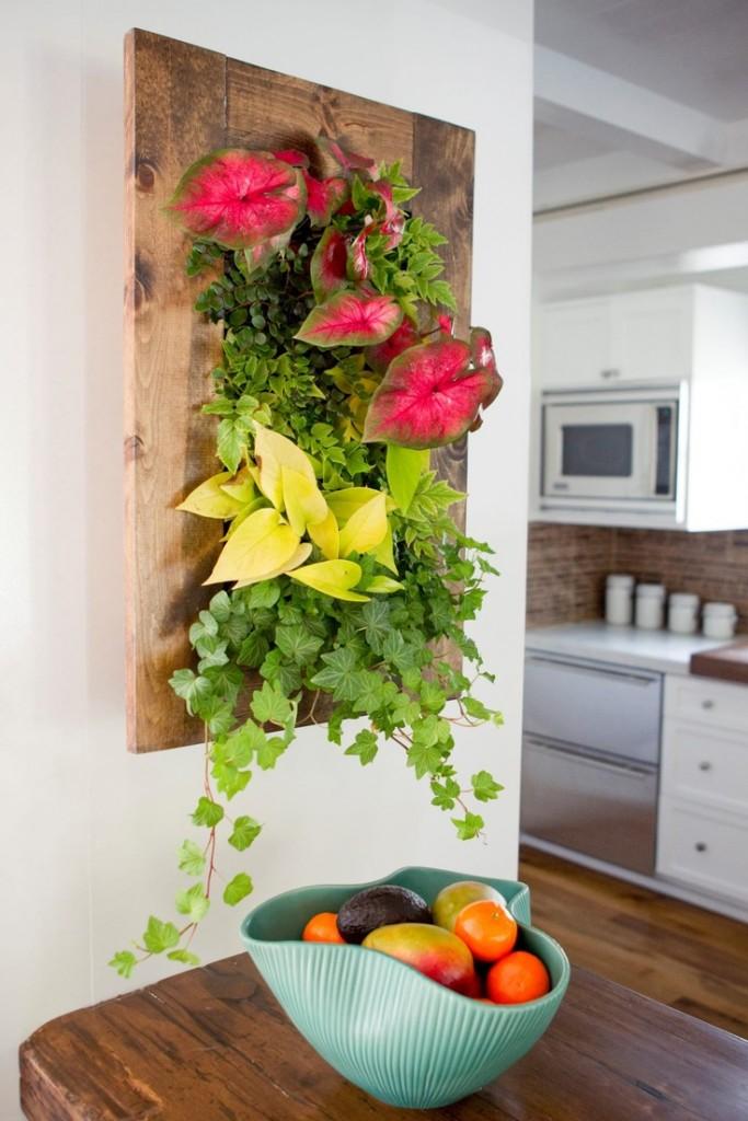 Панно из живых растений с листьями разного цвета