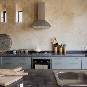 декоративная штукатурка на кухне фото интерьера