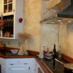 декоративная штукатурка на кухне идеи интерьер