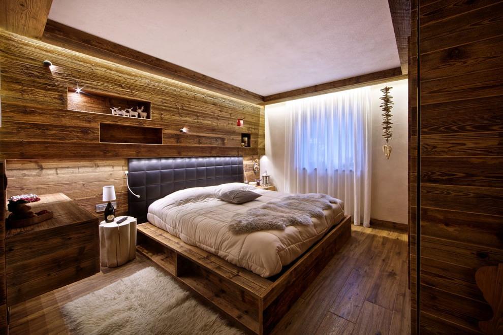 дизайн спальни с отделкой из дерева