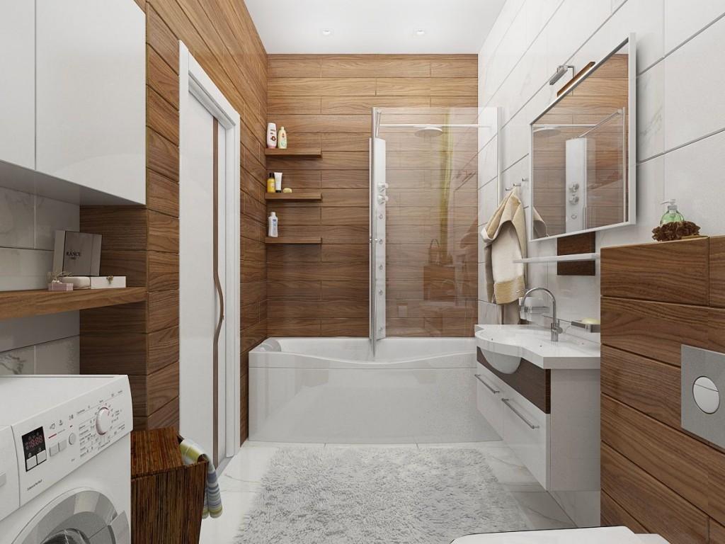 Деревянная отделка стен ванной комнаты