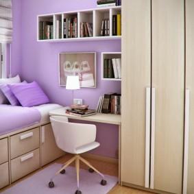 Сиреневый цвет в интерьере комнаты для девочки