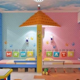 Зонирование комнаты для мальчика и девочки