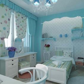Голубой цвет в интерьере детской спальни